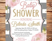 Watercolor Roses Baby shower invitation, flowers baby shower, gray stripes, pink, glitter, gold, romantic roses, confetti, boy, girl, 1692