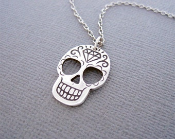 Silver Necklace, Silver Skull Necklace, Day of the Dead Necklace, Dia Day Los Muertos Skull, Sugar Skull, Sterling Silver Necklace