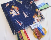 Sensory Ribbon Blanket,Lovey,Tag Blanket/Rocket Launch Club/Organic Cotton Fleece