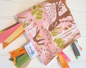 Sensory Ribbon Blanket,Lovey,Tag Blanket/Climbing Trees in Pink/Organic Cotton Fleece