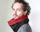 Unisex cowl, wool neck warmer, scarf men, Snock® in wool with cotton burgundy lining