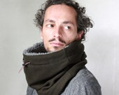 Mens scarf, Unisex cowl scarf, Snock® in thick khaki green wool