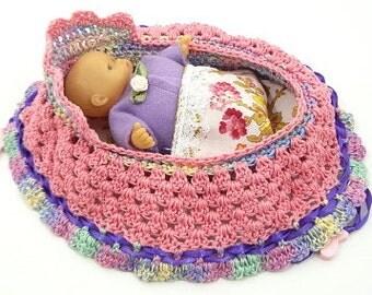 handmade crochet cradle purse travel toy itty bitty baby church purse quiet book  BG#131