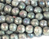 Electroplate LABRADORITE 10mm Gemstone Beads, Faceted -15 inch strand