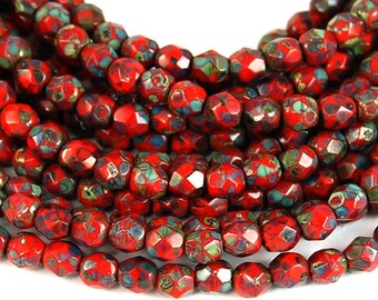 Opaque Bright Orange Picasso  Faceted Czech Glass Bead 4mm Round - 50 Pc
