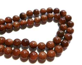 Brown Rust Goldstone - 10mm Round - Full Strand - 37 beads