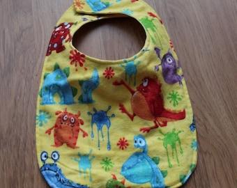 Yellow Monster Baby Bib Adjustable/Reversible