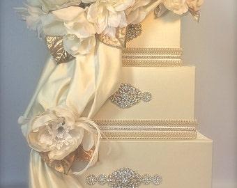 Wedding Money Box Ivory and Gold  Wedding Card Box,  Secured Lock Wedding Card Box Diamond Wedding Card Box, Off White Wedding Card Box