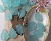 20 Sea Green Glass Czech Pressed Leaf Bead