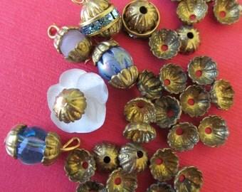 Antique  Tiny Brass Flower Center Bead Caps