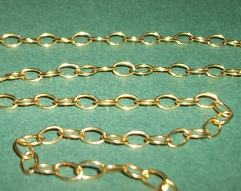 Gold Vermeil over 925 Sterling Silver Chain -oval link-(6 x 4 mm) -per 12 inches