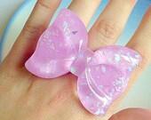Kawaii Bow Ring - Sparkle, Lilac, Pastel, Sweet Lolita, Statement, Cute, Ribbon