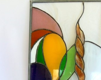 Vintage Handmade Stained Glass Panel, Hanging, Wall or Window Art - 14 x 19, Free Form, Studio, Abstract, Study, Doodle, Panel, Sun Catcher
