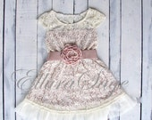 Champagne flower girl dress, lace baby dress, rustic flower girl dress, country flower girl dress, lace girls dresses, flower girl dress.