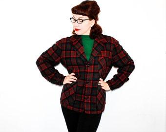 Vintage 1950s plaid jacket . red plaid 49er style shirt . 1950s Chippewa shirt . plaid wool jacket