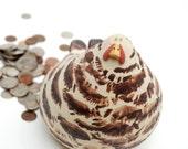 Barred Plymouth Rock styled chicken coin bank for an enterprising little farmer boy or girl