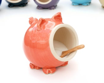 Coral Pink Ceramic Salt Pig for your countertop - traditional salt pig - great gift for a cook or foodie!