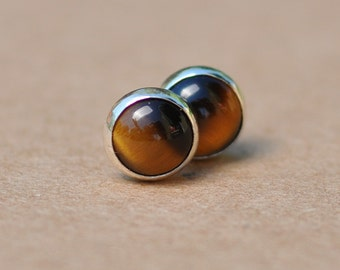Gemstone Earrings with Sterling Silver studs, Gold Tigers Eye 6mm gemstones, Brown and Golden colour.