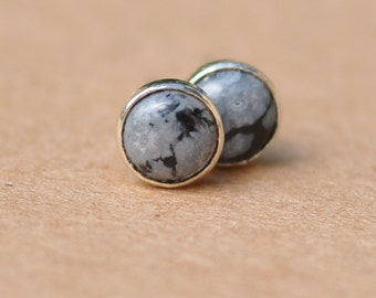 Snowflake Obsidian Earrings with Sterling Silver Earring studs, 6 mm gemstones white and black. dots, spots, birthdays, gifts, stud earrings