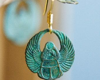 Egyptian Scarab Earrings Patina Scarab Earrings Verdigris Scarab Dangle Egyptian Earrings - E102