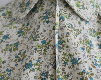 Vintage 50s Blouse, 1950s Peter Pan Collar Blouse, Flower Print, Liberty Print, Novelty
