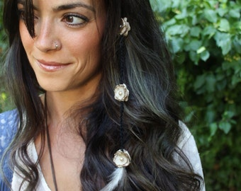 Feather Flower Hair Extension Clip-In - Tan Flowers Gray Feathers Weft Clip - Custom Colors
