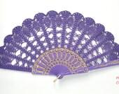 Hand Held Fan- Purple Lace Hand Fan- Lace Fan- Folding Hand Fan- Spanish Wedding Fan- Bridal Fan- Wedding Prop- Mother Of The Bride Gift