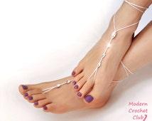 Barefoot Sandals- Foot Jewelry- Footless Sandals- Barefoot Wedding Sandal- Beach Wedding- Bridesmaid gift- Valentine's Gift for Girlfriend