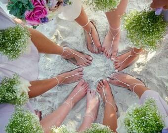 Barefoot Sandals- Bridesmaid Gift- Foot Jewelry- Beach Wedding Sandals- Swarovski Crystals- Barefoot Wedding Shoes- Valentines Day Gift