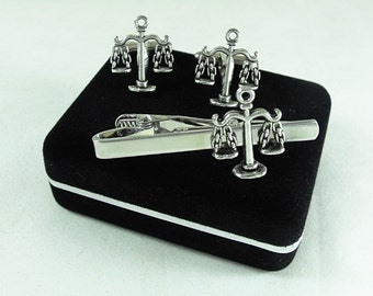Scales of Justice Libra Sign Lawyer Gift Set Cufflinks and Tie Clip Mens Accessories  Handmade
