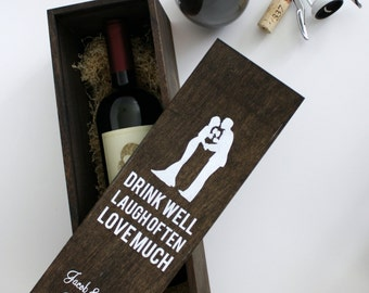 Wedding Wine Box with Silhouettes - Can be personalized with YOUR OWN Silhouettes, wedding wine ceremony box, first fight box