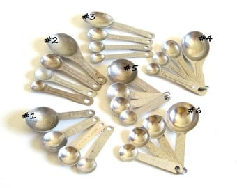 Metal Measuring Spoons Set(s) Vintage Aluminum Oval or Round Kitchen Utensil Food Photography Props