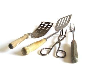 A&J Spatula Metal Scissor Tongs Primitive Utensil Meat Fork Antique Kitchen Utensils Food Photo Props