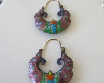 Gorgeous and Unique Art Deco Cloissone Enamel Butterfly 14k Wire Earrings