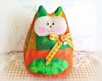 Autumn Fall Cat  Doll 6 in. Free Standing Kitty, Autumn Fall Halloween Cat Decoration Doll Primitive Handmade CharlotteStyle Decorative