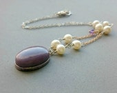 RESERVED Purple Jasper Necklace - Simple Purple and Silver Necklace with Sterling Silver Chain and Swarovski Crystals