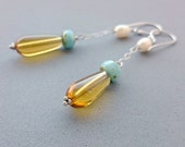 Amber and Turquoise Vintage Glass, Freshwater Pearl and Sterling Silver Earrings