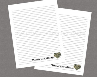 Air Force - Forever and Always - Printable Stationary, Deployment, Care Package, Army Wife, Military Stationary