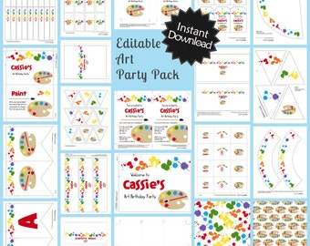 Editable Art Party Pack & Invite - Instant Download, Printable Templates, You print at home .. ap02
