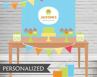 Printable Silly Monster Backdrop - 3x4 ft. Personalized Printable Party Poster for Monster Parties and Birthdays .. sm01