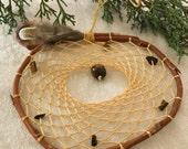 Yellow Dream catcher - tiger eye gemstones - natural red wild willow branch