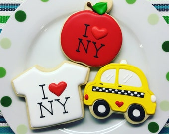 One Dozen I Heart NY Sugar Cookies