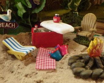 Summer Beach Fun Miniatures in the Fairy Garden or Doll House