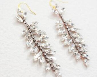 Crystal Earrings, Crystal Dangle Drop Earrings, Crystal Drop Earrings, Rose Gold Earrings, Crystal Chandelier Earrings, Drop Earrings, Ready