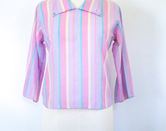 """REDUCED PRICE Vintage 1980s """"Daisy Shirtworks"""" Pink, Blue & Yellow Striped 3/4 Sleeve Blouse"""