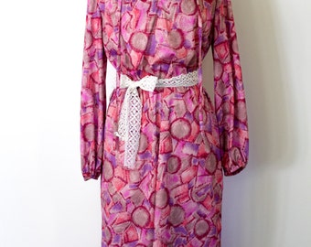 REDUCED PRICE Vintage 1980s '3Rs' Pink and Purple Long Sleeve Dress