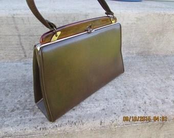 Brown Handbag Verdi Vintage Brown Purse Verdi Clasp Closure Lucite Accents Evening Bag Top Handle Purse with Clasp Closure
