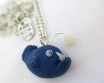 Clay Angler Fish Necklace - Nautical Jewelry - Deep Sea Necklace