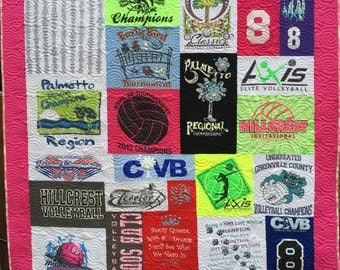 Mosaic TShirt Quilt with Borders (DEPOSIT), Puzzle Quilt, T Shirt Quilts, Sorority Quilts, T-Shirt Blanket, Memory Quilts, Tee Shirt Quilt