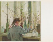 "T. Yablonskaya ""Spring on a Window-sill"" Postcard -- 1967"